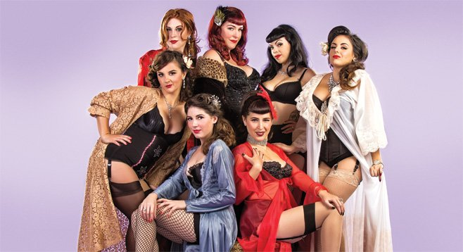 Clockwise from the top left corner: Eva Mae Garnet, Bibi Bordeaux, Donna deMuerte, Dottie Deville, Ginger N. Whiskey, Stella Foxtrot, and Valentina on the Rocks.