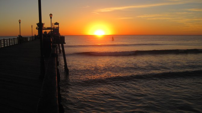 Oceanside Pier at sunset.
