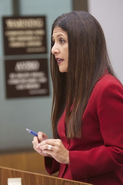 Prosecutor Claudia Grasso said she has a recording and an envelope with cash.  Photo Bill Wechter, court pool.