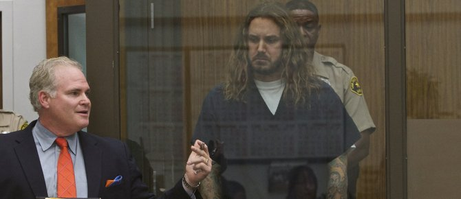 Def atty Anthony Salerno and Tim Lambesis in court May 9, 2013.  Photo Bill Wechter, court pool.