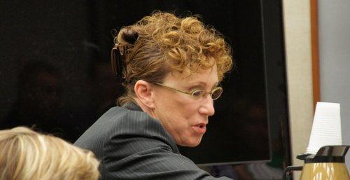 Defense attorney Karolyn Kovtun put her client in the witness box.  Photo Weatherston.