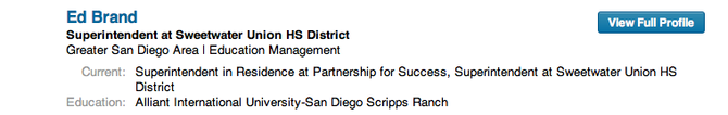 Superintendent Ed Brand's LinkedIn profile indicates he attended Alliant University
