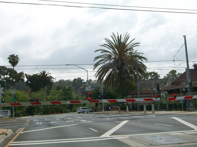 Trolley crossing in Old Town near Pacific Highway.