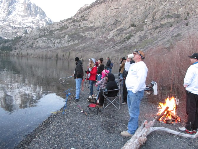 Opening Day of the Eastern Sierra Trout Season at 5:03 a.m. Fishermen line the shores of Silver Lake.