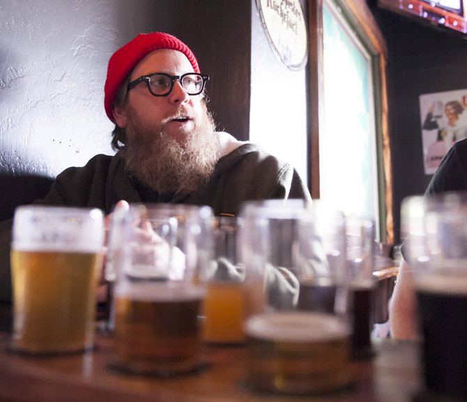 Monkey Paw Pub & Brewery owner Scot Blair amidst Sorrentino's new beers