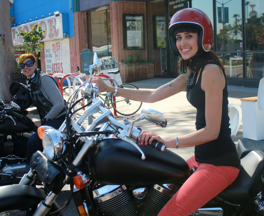 Lady bikers Katie Carney (on the left) and Amanda Morrill (right)