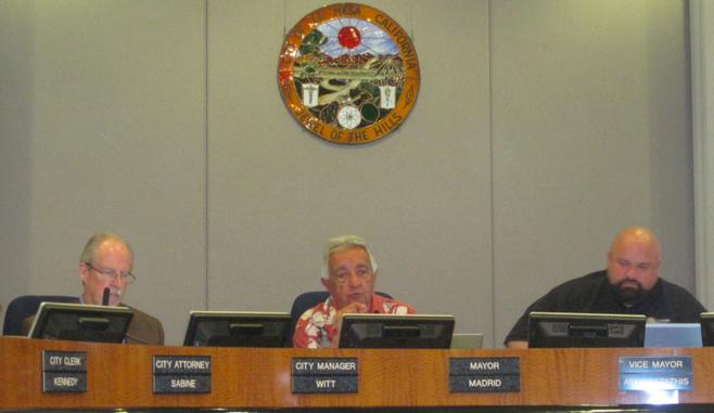 La Mesa  city manager David Witt, mayor Art Madrid, and vice mayor Mark Arapostathis