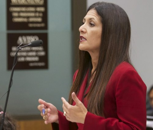Prosecutor Claudia Grasso said she has an envelope full of evidence.  Photo Bill Wechter, court pool.