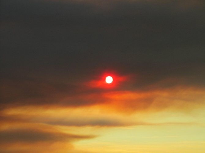 The Sun Surrounded by Smoke from California Fires, Palmdale