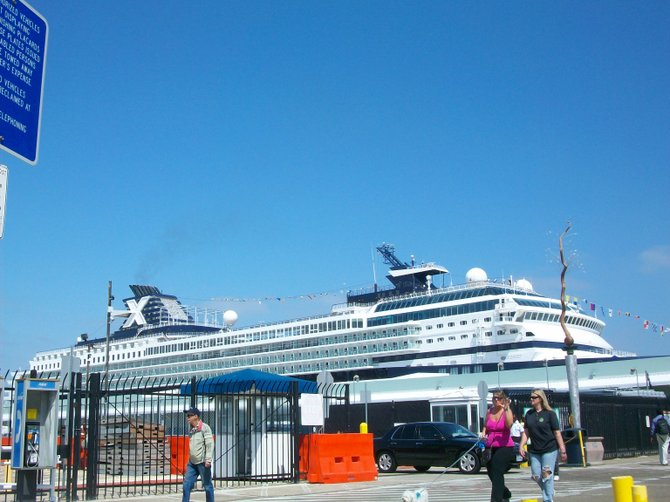 Celebrity Cruise ship at Cruise Ship Terminal downtown.