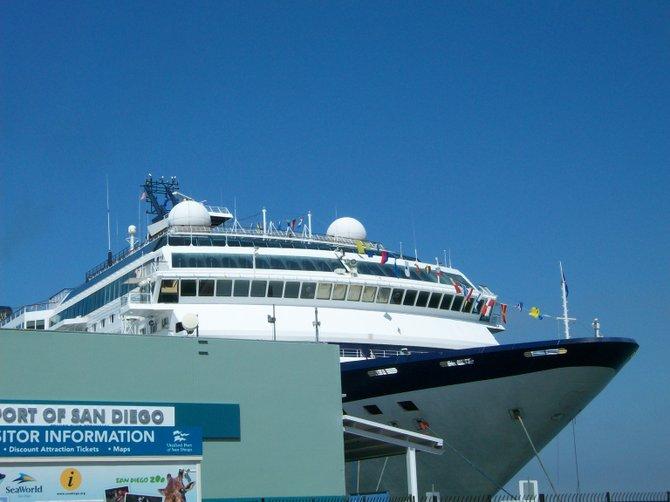 Cruise ship docked downtown at Embarcadero.