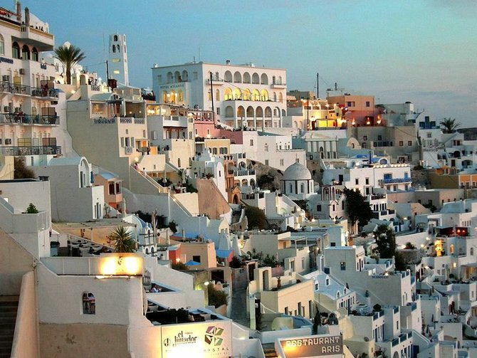 The town of Santorini