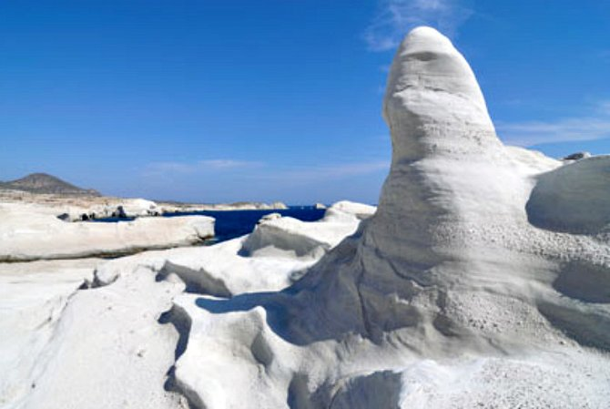 Milos white rock formations