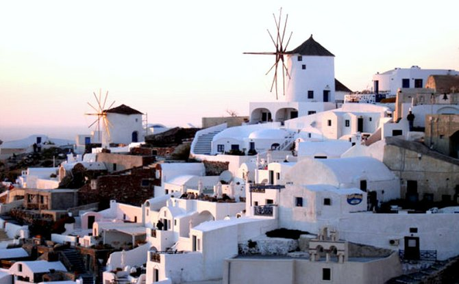 Santorini's white-washed buildings