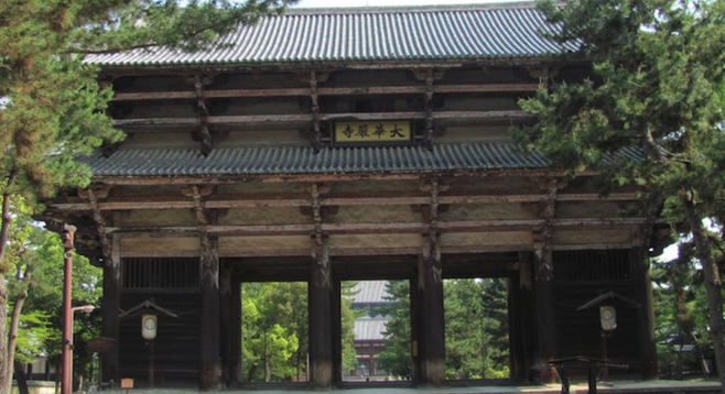Tōdai-ji's main gate. Thousands of sika deer roam the temple grounds freely.