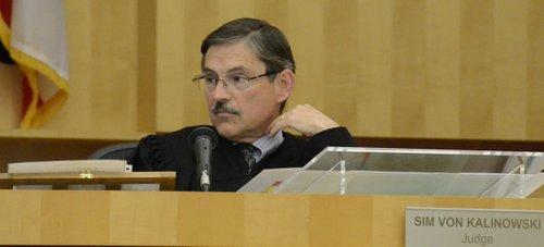 Judge Sim von Kalinowski took a good look at the evidence photos.  Photo Weatherston.