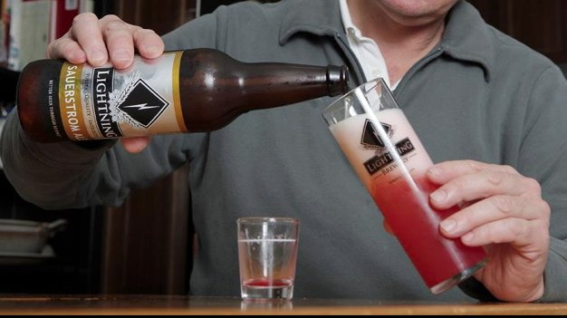 Lightning Sauerstrom Ale with house-made raspberry syrup added to the mix