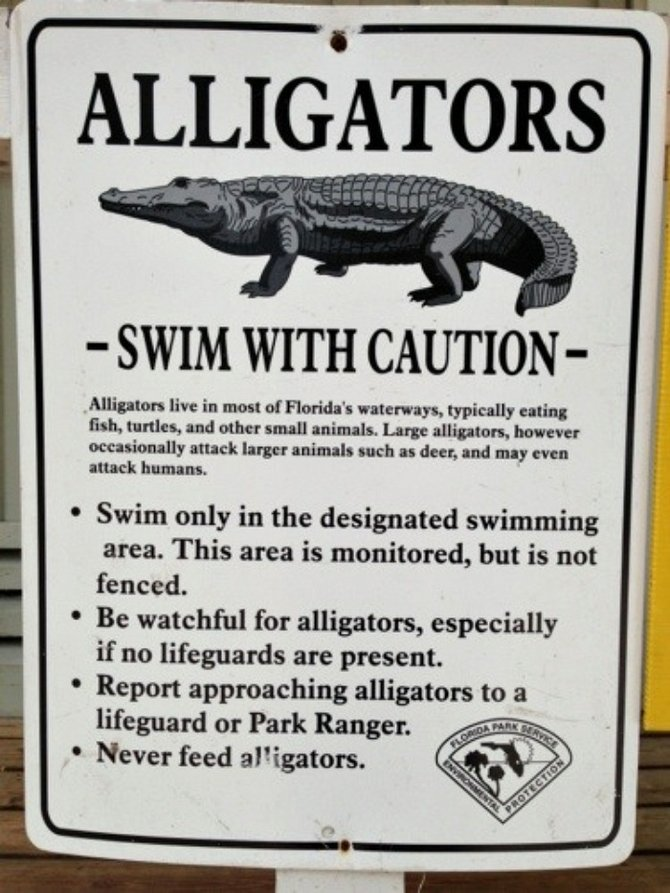 Warning sign about kayaking around alligators