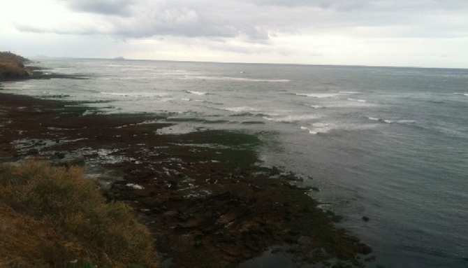 An extremely low tide on May 27 helped create the setting for a rave at Sunset Cliffs.
