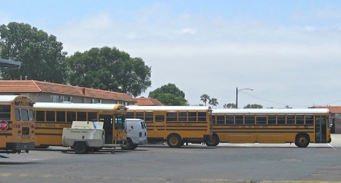 School buses at Sweetwater terminal