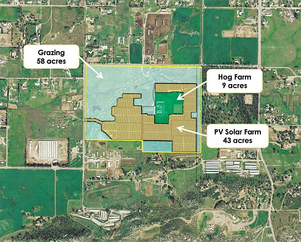 This aerial map shows the proposed layout of the solar generating facility.
