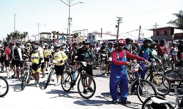 Cyclists filled six blocks along Rosarito's main thoroughfare.