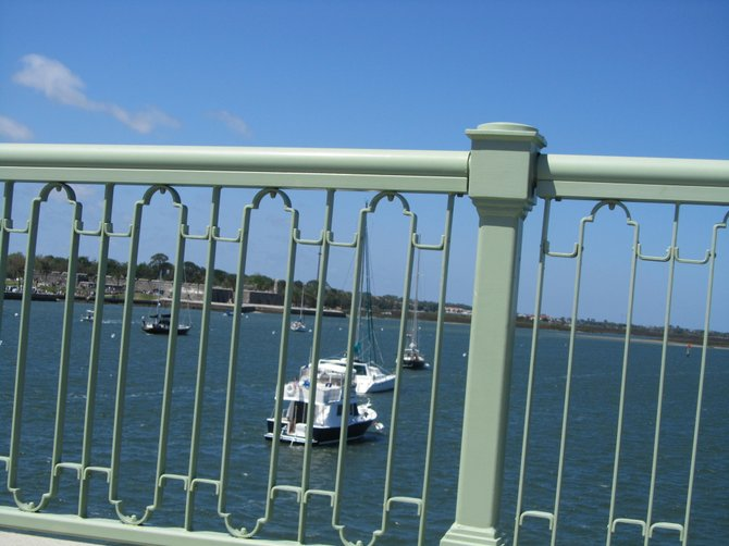 View of yachts when crossing the bridge