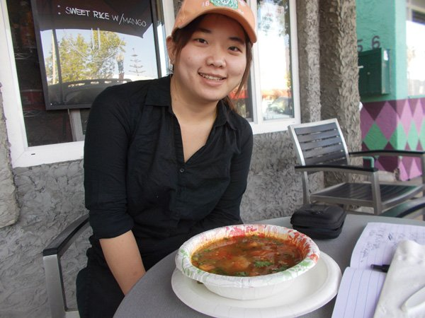 The tom yum soup looked like some evil, fuming lake in Yellowstone.