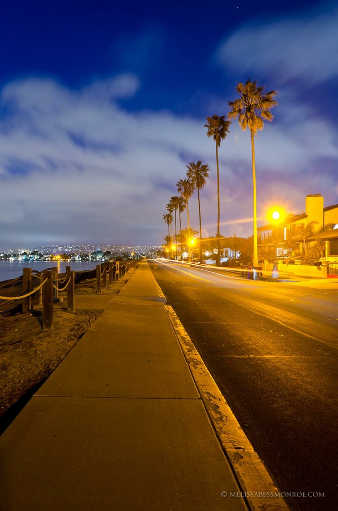 Night lights on Riviera Drive in Pacific Beach