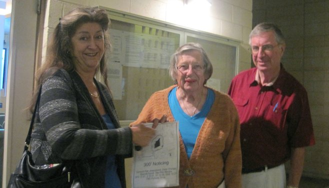 La Mesans Julie Sutton-Hayes, Carol Kear, and Dennis Andolsek showed up to express opposition to the project