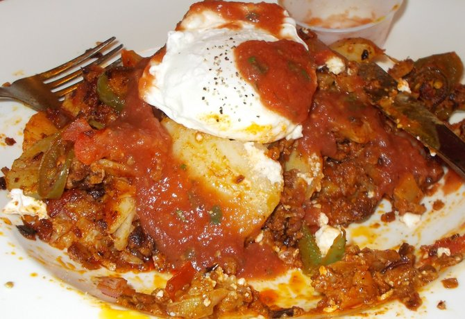 Chorizo hash plate with salsa
