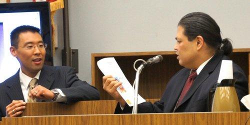 Prosecutor Keith Watanabe confronted Hood w evidence. Photo Weatherston.