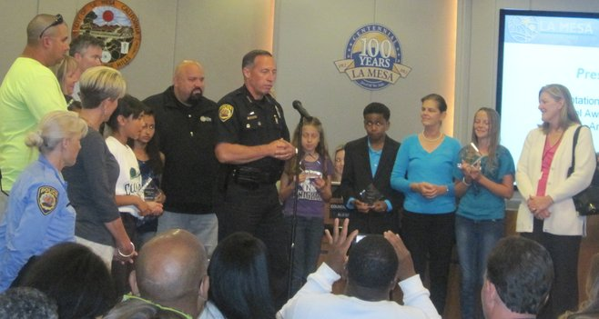 After awarding some safety-patrol awards, Chief Aceves delivered his crime report.