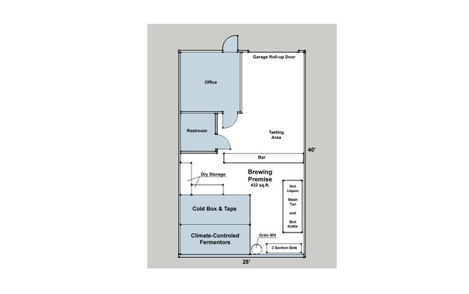The floorplan for 2 Kids Brewing Company's facility