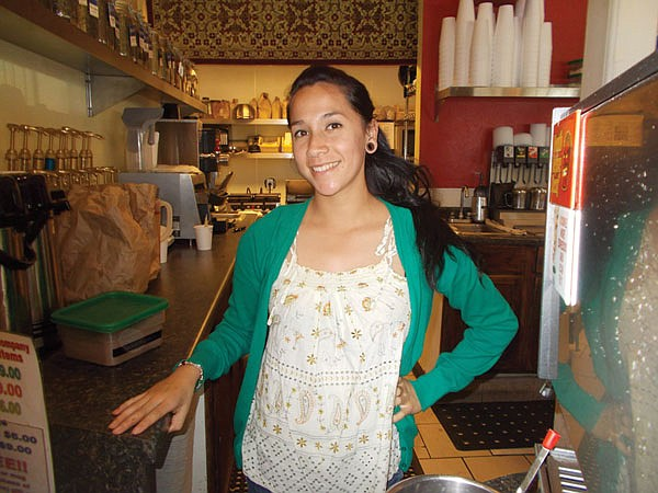 Across the street from Pierview Pub sits Pier View Coffee and its barista, Marysol.