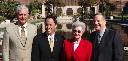 SDG&E's Frank Urtasun, Council President Todd Gloria, Betty Peabody of Friends of Balboa Park and San Diego Mayor Bob Filner celebrate the renovation of the Balboa Park Lily Pond