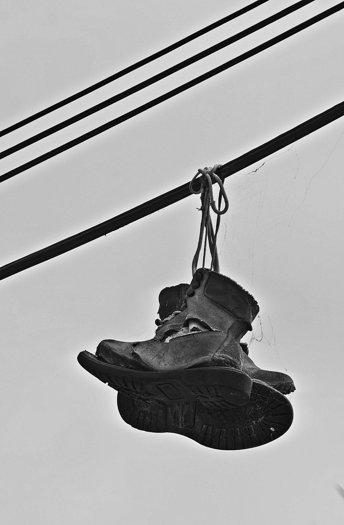 Shoes on a Wire in Golden Hill