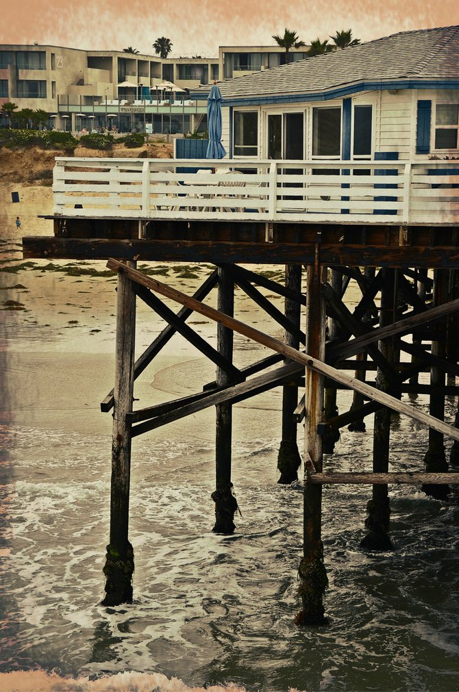 A cottage on Crystal Pier, view from the beach. Pacific Beach