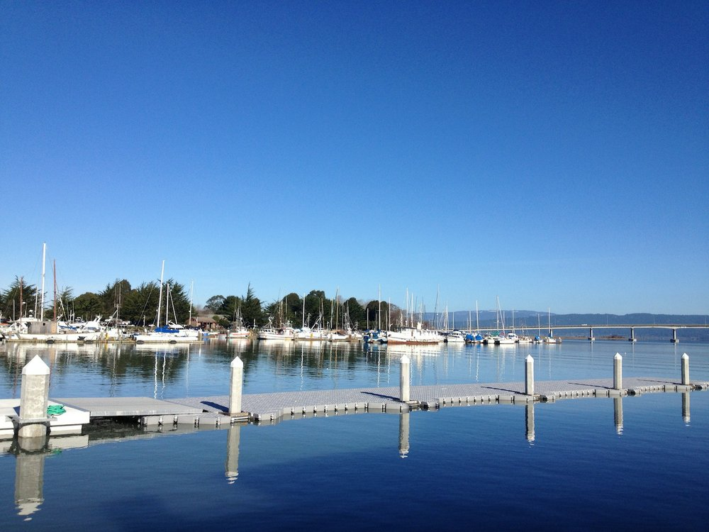 Eureka's waterfront on a sunnier day.