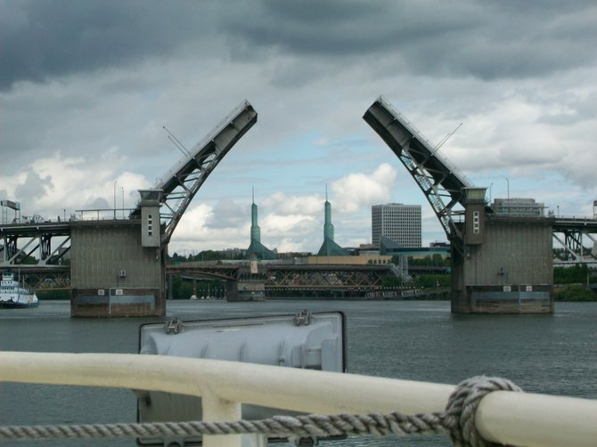 Drawbridge in front of the Portland Convention Center on the Williamette River.