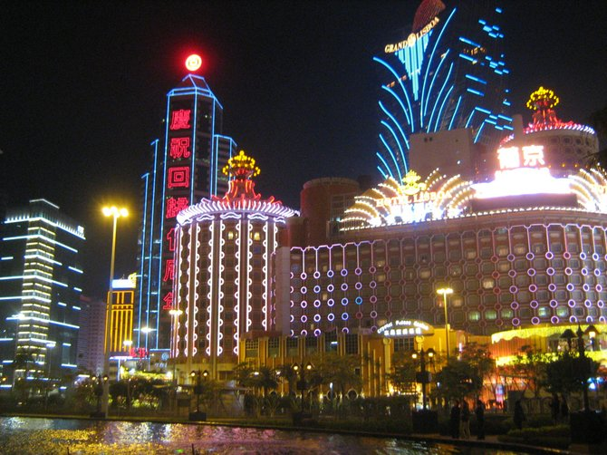 Macau's casino district at night
