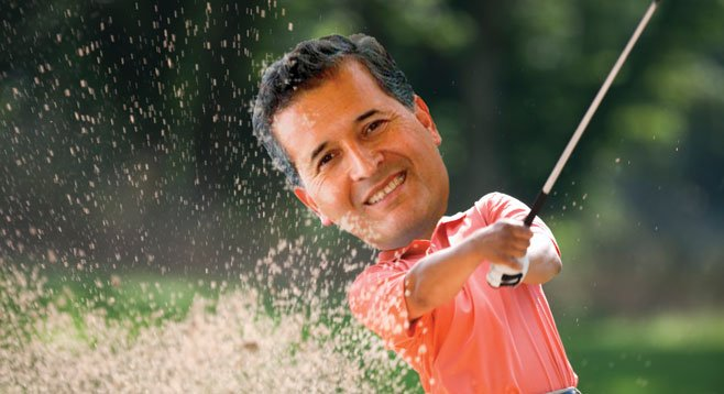 It's not the great sand shot that's making Juan Vargas smile, it's the thousands he raked in at his Mission Valley golf fundraiser.