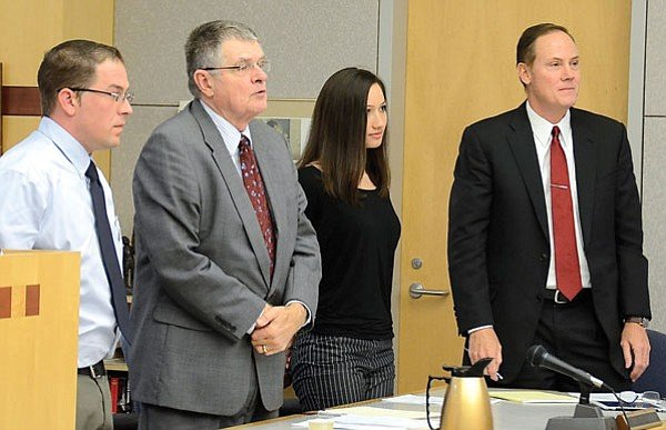 Left to right: Gerald Torello, attorney Richard Muir, and Kallie Helwig at sentencing