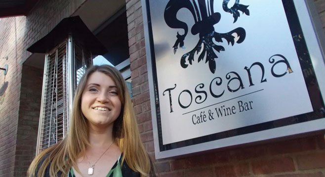 Irena the hostess says sit where you like during Toscana's happy hour.