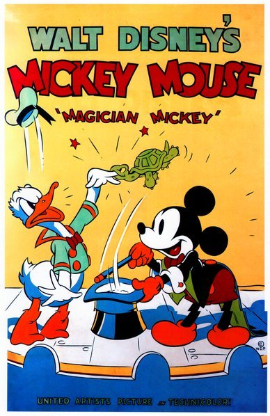 "Mickey Mouse, Donald Duck, and Goofy in David Hand's ""Magician Mickey"" (1937). A Walt Disney Production released through United Artists."