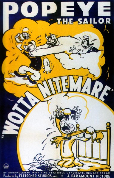 "Popeye in Dave Fleischer's ""Wotta Nitemare"" (1939). Released by Paramount Pictures."