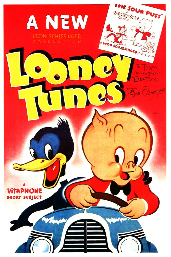 Daffy Duck and Pork Pig grace this generic one-sheet pitching Warner Bros. Looney Tunes shorts (1940).