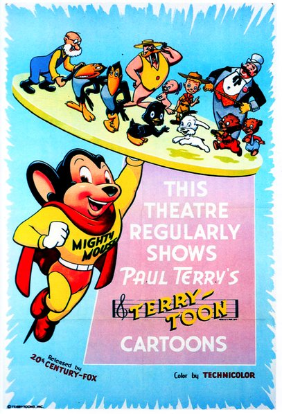 Generic Terrytoons poster from the 1940's featuring Mighty Mouse and the gang. Released by 20th Century Fox.