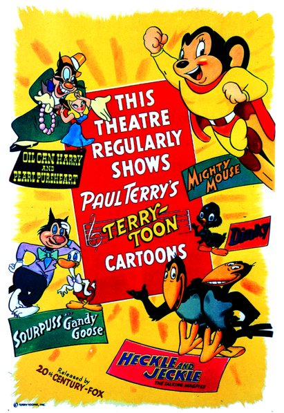 Another generic Terrytoons poster from the 1940's featuring Mighty Mouse and the gang. Released by 20th Century Fox.