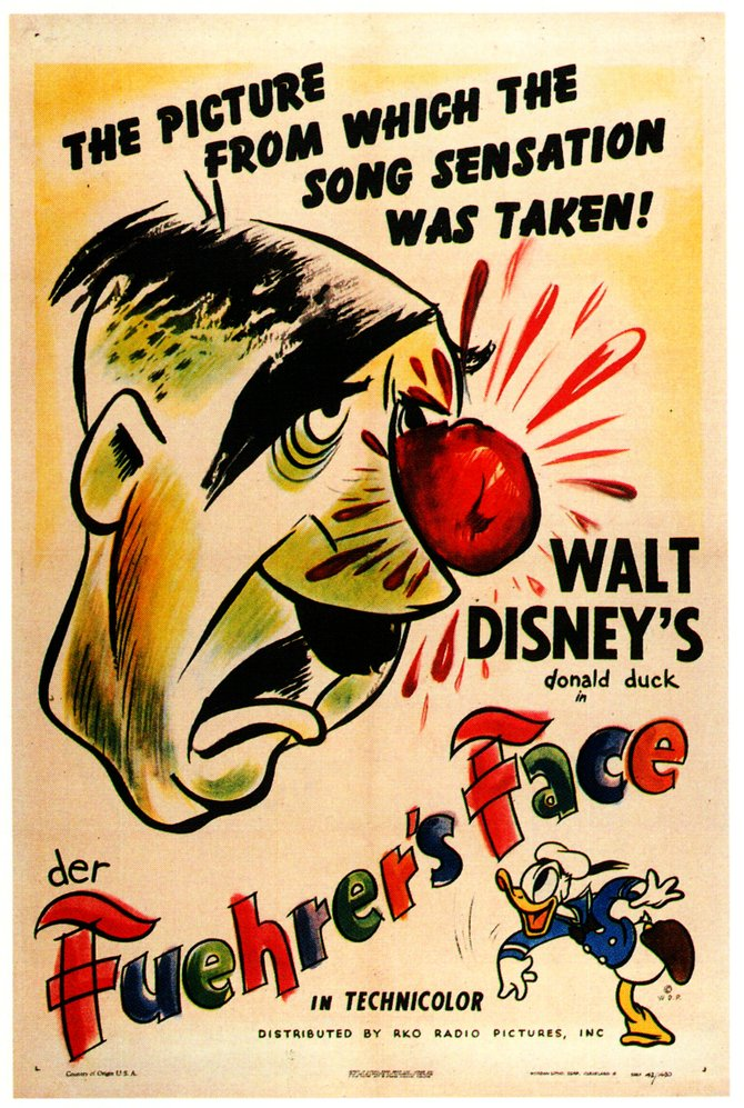 "Donald Duck meets Hitler in Jack Kinney's ""Der Fuehrer's Face."" A Walt Disney Production distributed by R.K.O. Pictures."